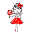 cute young girl with flowers on white background vector image vector image