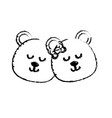 Figure cute animal couple bear head together vector image