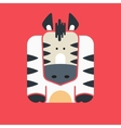 Flat square icon of a cute zebra vector image vector image