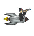 gentleman flies in rocket with telescope sketch vector image vector image