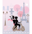 girls riding on scooter - Paris fashion image vector image