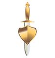 Gold dagger under gold shield vector image vector image