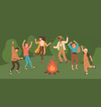 group happy young men and women dancing around vector image vector image