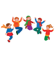 Group of jumping children boys and girls vector image vector image