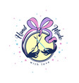 handmade badge with ribbon bow with scissors and vector image