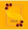 happy diwali greeting with diya and text space vector image