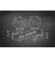 Ice cream scoop in cones and vintage engraving vector image