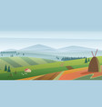 image of green hills and meadow with vector image vector image