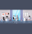male ophthalmologist checking patient vision vector image