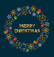 merry christmas gold winter wreath greeting card vector image vector image