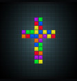 multicolor cross old video game design vector image vector image