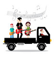 music band on van with driver isolted on white vector image vector image