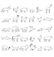 one line animals set logos stock vector image vector image