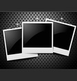 Photo frames on carbon background vector image