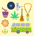 rastafarian cannabis peace ganja icons set in flat vector image