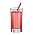 red smoothie in glass mockup realistic style vector image