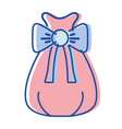 santa claus bag with robbon design vector image