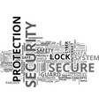 secure word cloud concept vector image vector image
