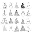 set hand drawn sketch christmas tree design vector image
