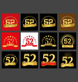 set of number fifty-two 52 years celebration vector image vector image