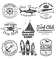 set sailing camp yacht club and surf club vector image vector image