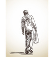 sketch walking man from back hand drawn vector image vector image