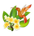 small hummingbird with hibiscus flowers exotic vector image vector image