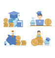student learning investment online courses vector image