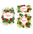 summer tropical exotic flowers icons vector image