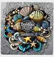 undersea life cartoon doodle vector image