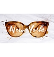 Watercolor glasses New York vector image vector image