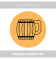 wooden mug for beer drinks flat linear icon on vector image vector image