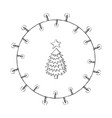 wreath made of christmas lights with a pine tree vector image