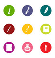 written affiliation icons set flat style vector image vector image
