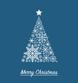 xmas card with christmas tree made from snowflakes vector image vector image