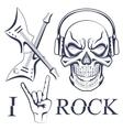 Earphone skull with crossed guitars vector image