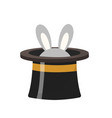 magician hat with a rabbit icon flat style vector image