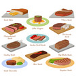 different beef steak raw meat food red fresh cut vector image