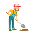 a happy white farmer with a shovel on a farm field vector image