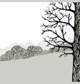 a tree monochrome landscape vector image