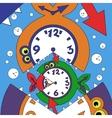 abstract clock fish vector image vector image