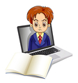 an angry man inside laptop with a notebook in vector image vector image