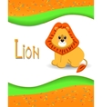 Animal alphabet lion with a colored background vector image