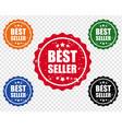 bestseller label set transparent background vector image