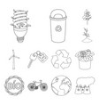 bio and ecology outline icons in set collection vector image