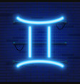 blue shining cosmic neon zodiac gemini symbol on vector image