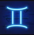 blue shining cosmic neon zodiac gemini symbol on vector image