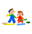 boy and girl with crayons and ruler vector image vector image