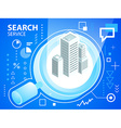 bright search glass and buildings on blue ba vector image vector image