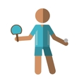 character ping-pong player with racket ball vector image